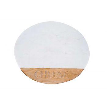 Cosy & Trendy Servierbrett Cheese Weiss Braun Rund Mar
