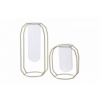 Cosy @ Home Vase Metal Frame Glass Tube D6 H18 Cm Go