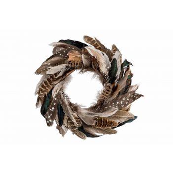 Cosy @ Home Kranz With Feathers Braun 35x4xh35cm Run