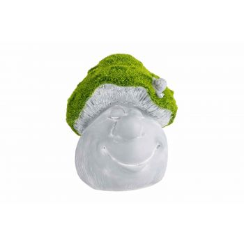 Cosy @ Home Pilz Face Flocked Green Grau 17x17xh21cm