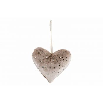 Cosy @ Home Hanger Heart Strass Greige 13x3xh13cm Po