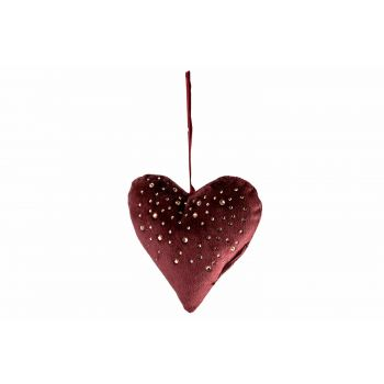 Cosy @ Home Heart Strass Bordeaux 13x3xh13cm Polyest