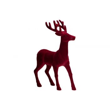 Cosy @ Home Hirsch Flocked Dunkel Rot 22x12xh28cm Ku