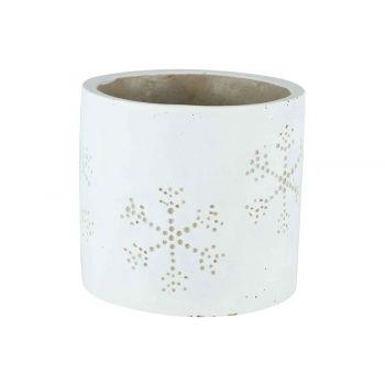Cosy @ Home Blumentopf Snowflake Weiss 14x14xh13cm