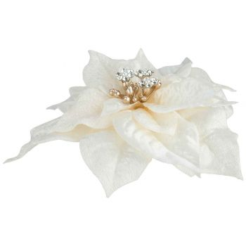 Cosy @ Home Klammer Poinsettia Jewel Cream 18x18xh4c