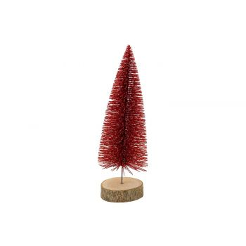 Cosy @ Home Weihnachtsbaum Glitter Wood Base Rot 8x8