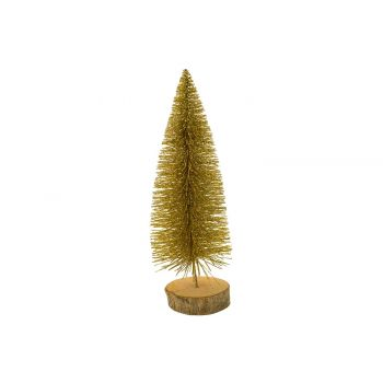 Cosy @ Home Weihnachtsbaum Glitter Wood Base Gold 8x