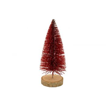 Cosy @ Home Weihnachtsbaum Glitter Wood Base Rot 6x6