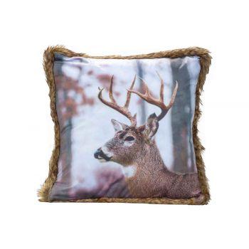 Cosy @ Home Kissen Deer Braun 45x45xh12cm Samt