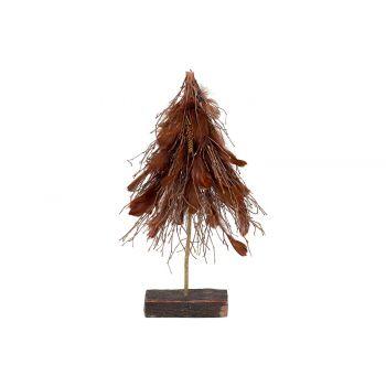 Cosy @ Home Zweigenbaum With Feathers Braun 36x15xh6