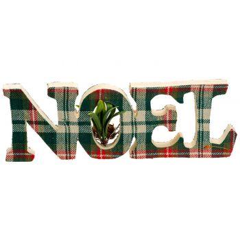 Cosy @ Home Checkers Letterdeko Noel Rot Grun 29x2xh