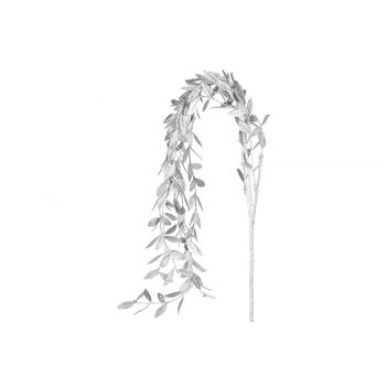 Cosy @ Home Dekozweig Metallic Leaves Silber 5x5xh85