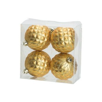 Cosy @ Home Weihnachtskugel Set4 Pineapple Gold D8cm