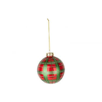 Cosy @ Home Weihnachtskugel Checkers Rot Grun D10cm