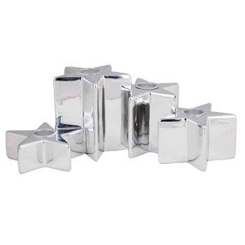 Cosy @ Home Leuchter 4 Stars Silber 24,5x14,5xh9,3cm