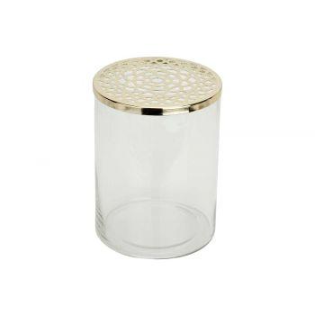 Cosy @ Home Vase Metal Lid Transparent 15x15xh20cm Z