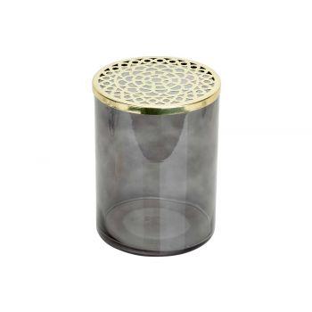 Cosy @ Home Vase Metal Lid Grau 15x15xh20cm Zylindri