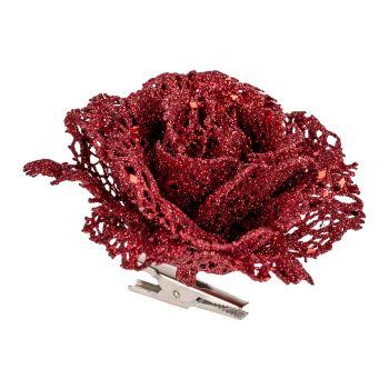 Cosy @ Home Rose Klammer Glitter Rot 10x10xh8cm Kuns