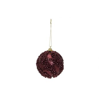 Cosy @ Home Weihnachtskugel Glitter Balls Aubergine