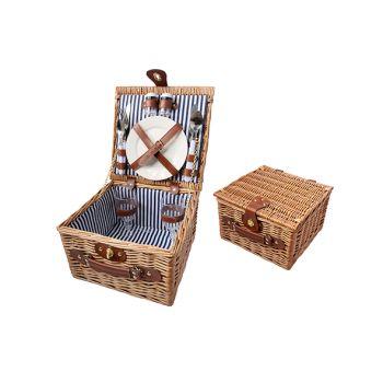 Cosy & Trendy Willow Picnic Basket 2p Brown 28x28x18cm