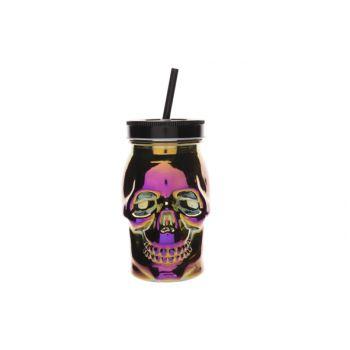 Cosy & Trendy Skull Trinkbecher Violett 9x9xh15cm
