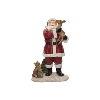 Cosy @ Home Santa With Deer Rot 17x10xh27cm Resin