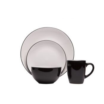 Cosy & Trendy Ancona Black-white Geschirrset 16 Teilig