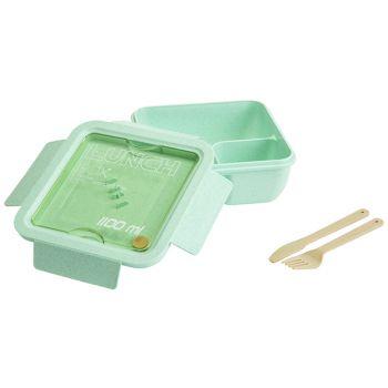 Cosy & Trendy Eco-fibre Lunchbox Grun Cutlery Brown