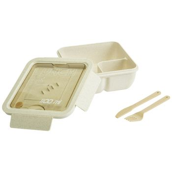 Cosy & Trendy Eco-fibre Lunchbox Weiss Brown Cutlery