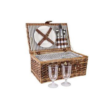 Cosy & Trendy Picknickkorb 2p Braun 38x25xh16cm Rechte