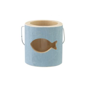 Cosy @ Home Teelichthalter Fish Blau 10x10xh10cm Hol