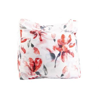 Cosy @ Home Puff Pink Flowers Weiss 55x55xh38cm Poly