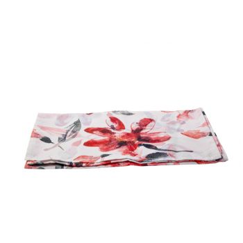 Cosy @ Home Tischlaufer Pink Flowers Weiss 40x140cm