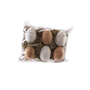 Cosy @ Home Osterei Set6 Natuur Weiss H6cm
