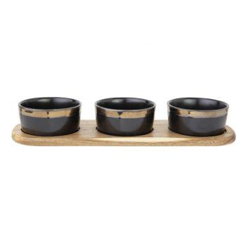 Cosy & Trendy Servierbrett 32x10,5xh5cm Acacia + 3 Cup