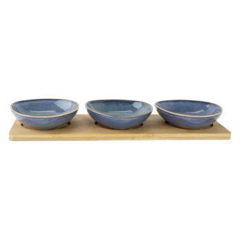Cosy & Trendy Servierbrett 31x11xh4cm Bambus + 3 Bowls