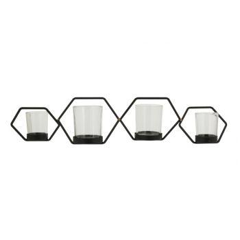 Cosy @ Home Teelichthalter Hexagon 4p Schwarz 53,5x1