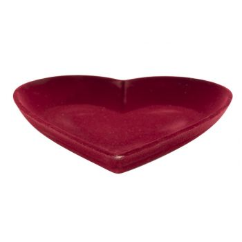 Cosy @ Home Herz Flocked Rot 25x25xh3,8cm Holz