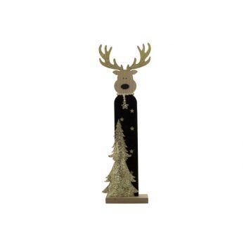 Cosy @ Home Elch Glitter Schwarz 20x7xh60cm Holz