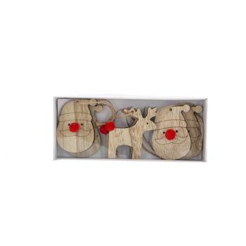 Cosy @ Home Hanger Set6 Mix Natural 4xh8cm Holz
