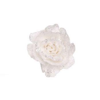 Cosy @ Home Glitzeer Rose Auf Clip Weiss D10cm