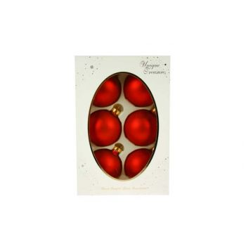 Cosy @ Home Xmas Ball Glass 67mm Red Mat 6pc