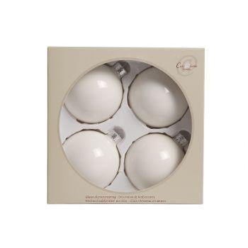 Cosy @ Home Wn Kugel 4st 8cm Perlen Weiss