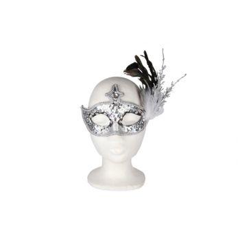 Cosy @ Home Augenmaske Feder Zweige Silberglitt 19cm