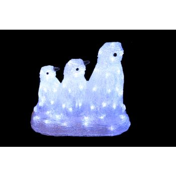 Cosy @ Home Pinguinfamilie Acryl Weiss Led 35x18x32c