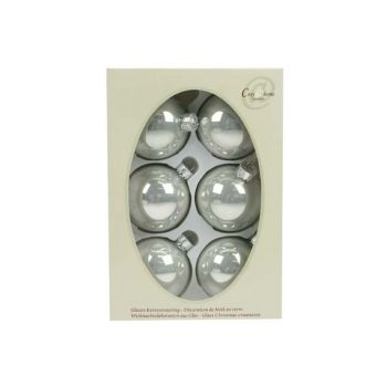 Cosy @ Home Glass Ball 6pcs 7cm Pearl Silverwhite