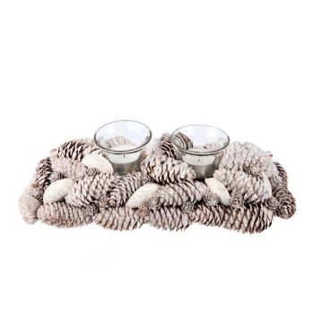 Cosy @ Home Weihnachtsdeko 2kerzenglas Silber