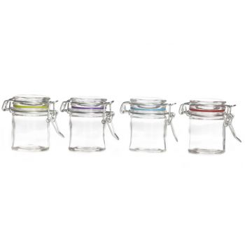 Cosy & Trendy Glass Jar With Clip D4.5xh6cm 4 Types