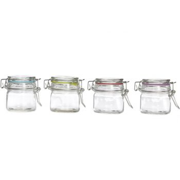 Cosy & Trendy Glass Jar With Clip 8.8x6.8xh7.8  4 Types