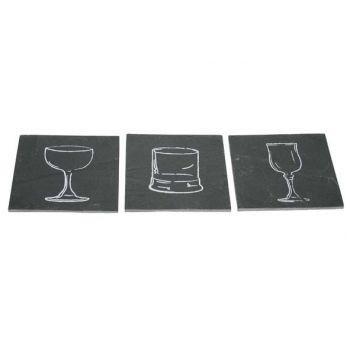 Cosy & Trendy Slate Saucer Glasses Set 6 - 10x10cm
